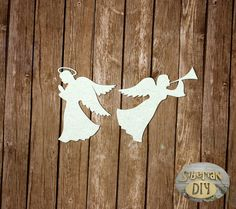 "Laser Cut Chipboard ""Two angels"" by SiberianDIYcraftsArt on Etsy"