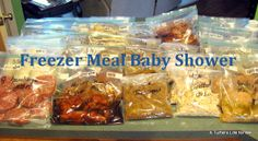 "freezer meal baby shower - what a great idea for a mom who might not need other things, could include pizza gift cards, IOU starbucks delivery, ect! ""Storking the freezer"" Shower."