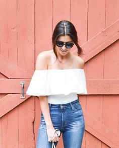 Cool girl starter kit: bodysuit, high-waisted jeans, statement shades.  : @nicoleperr #regram