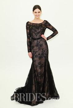 A formal black long-sleeved gown by Truly Zac Posen | Brides.com