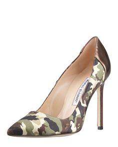 Satin camo in classic or grey. Copper or Silver heel.  BB Camo  Manolo Blahnik at Neiman Marcus $675