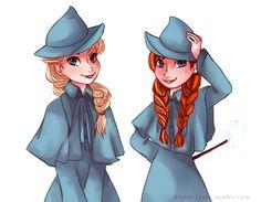 Elsa and Anna in the magical world of Harry Potter Disney Fan Art, Disney Love, Disney Magic, Disney Hogwarts, Harry Potter Disney, Snow Queen, Disney And Dreamworks, Disney Pixar, Rapunzel Eugene