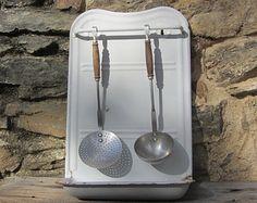 French vintage enamel utensil rack, kitchen rack. white enamelware,  vintage kitchen utensils. 1930's Farmhouse decor. Rustic decor.