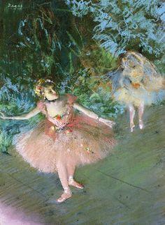 Dos bailarinas en el escenario (1878-80)