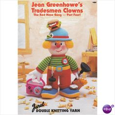 Jean Greenhowe's Knitted Tradesmen Clowns Pattern Book - Red Nose Gang Part 4 on eBid United Kingdom