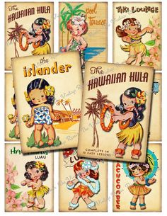 INSTANT DOWNLOAD, Vintage Hula Girls, Digital Collage Sheet, Retro ATC Printables