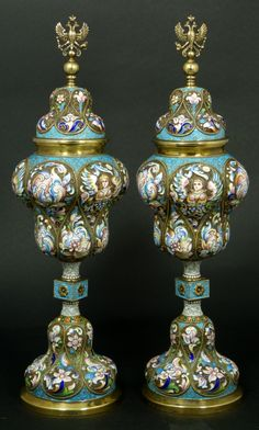 Pair of Russian Enameled Silver Urns -- Early 20th Century