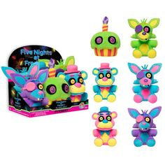 Plushies: Five Nights at Freddy's: BLACKLIGHT PLUSHIES - Set of 6 (with PDQ Display Case)