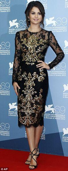 3320b1b0844 Selena Gomez wearing Dolce   Gabbana Petite Robe Noire