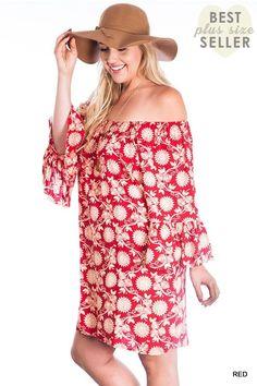 Umgee+ Red Floral Off The Shoulder Ruffled Sleeve Boho Dress Plus  XL 1XL 2XL #Umgee #Shift
