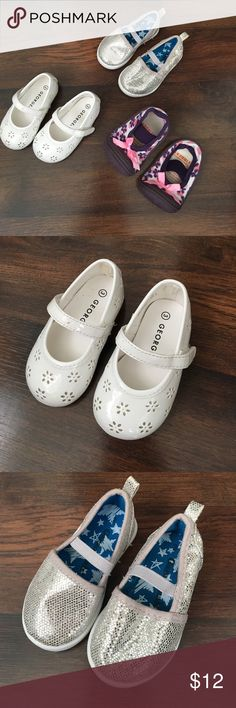 Infant girls shoes bundle Infant girls shoes bundle. White shoes are size 3 and made by George.  Silver sparkle slip ins are size 3 and made by Geranimals.  Purple Skidders are slip on size 4.  Donating 7/15/17. Shoes