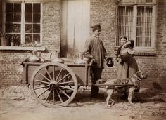 Collection of old photos of dogs in carts. So many dogs would LOVE to have the exercise and bonding experience of pulling a cart around with their people :)