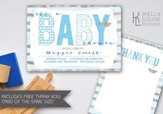 Blue Baby Shower Invitation | Printable Baby Boy Shower Invitations | Printable Baby Shower Invitations | Blue and Silver Baby Shower (018) by kellylouisedesigns on Etsy
