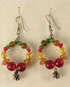 Pierced Earrings Multi Colored Glass Beads Bohemian Gypsy Cosplay #Unmarked #DropDangle