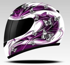 THUNDER BUTTERFLY WOMENS MOTORCYCLE MOTORBIKE HELMET PURPLE - if I ever rode one I would so get this!