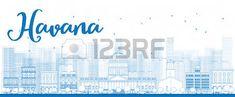 Esquema Habana Skyline con Blue Building. Ilustración vectorial