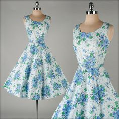 vintage 1950s dress . blue floral cotton . by millstreetvintage, $145.00