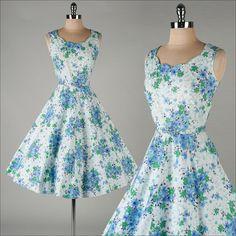 vintage 1950s dress . blue floral cotton . by millstreetvintage, $145.00