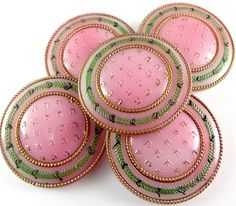 Rare Set of 5 Victorians - Pink Glass Buttons w Green + Gold 4 Way Box Shank.