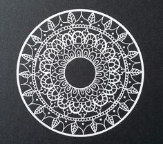 - Black and White mandala - Drawn freehand - Gellyroll White pen from Sakura
