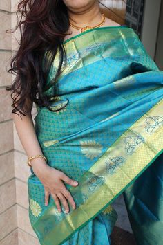Amazon Green Kanjeevaram Silk Saree with Fast Zari