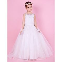 A-line Spaghetti Strap Beaded Organza And Satin Flower Girl Dress – USD $ 99.99