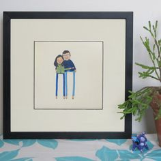 custom couple portrait  hand drawn quirky by PeopleYouMayMeet
