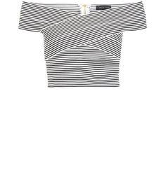 Black Stripe Bandage Bardot Neck Crop Top  | New Look - 23 EUROS