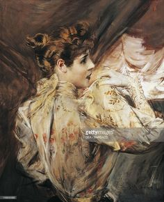 Portrait of Eleonora Duse (Vigevano 1858 - Pittsburgh 1924), Italian actress. Painting by Giovanni Boldini (1842-1931).
