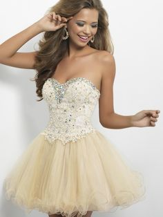 CHAMPAGNE MINI LENGTH SHORT SLEEVELESS BEADED SWEETHEART LACE-UP PROM DRESS/ HOMECOMING DRESS