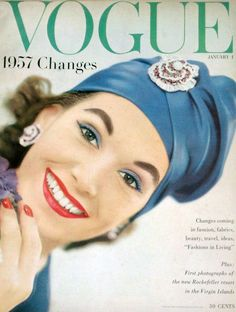 1957 Vogue-January 1957 Cover:Model is wearing a suit and hat by Balmain and Cartier jewelry.Vogue-January 1957 Cover:Model is wearing a suit and hat by Balmain and Cartier jewelry. Vintage Vogue Covers, Vintage Fashion 1950s, Fifties Fashion, Vintage Hats, Vintage Couture, Vogue Magazine Covers, Fashion Magazine Cover, Fashion Cover, Patti Hansen