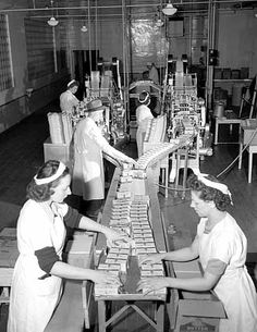 Butter assembly line, Land O' Lakes, Minneapolis. Photographs | Collections Online | ID Number: HD7.3 p64 (Locator Number SV)  Content: circa 1946