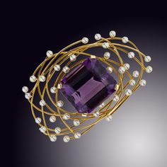 Mid 20th Century 18k Yellow Gold, Amethyst And Pearl Pin