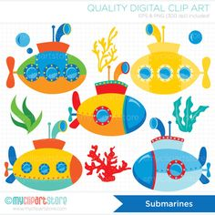 Clipart - Under the sea / Submarine / U-boat / Surf / Deep Sea Transportation Orla Infantil, Decoration Creche, Submerged Vbs, Summer Bulletin Boards, Diy And Crafts, Crafts For Kids, Vector Clipart, Vectors, Party Printables