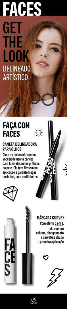 Caneta delineadora para olhos: Além do delineado comum, você pode usar a caneta para fazer desenhos gráficos na pele. Ela tem firmeza na aplicação e garante traços perfeitos, com multiefeitos.
