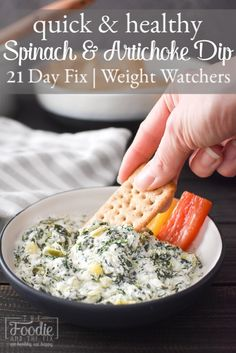 Quick Spinach and Artichoke Dip (made in Instant Pot or microwave) is the perfec. Quick Spinach and Artichoke Dip (made in Instant Pot or microwave) is the perfec… Quick Spinach Healthy Appetizers, Appetizer Recipes, Healthy Snacks, Dinner Recipes, Healthy Eating, Savory Snacks, Healthy Spinach Artichoke Dip, Skinny Spinach Dip, 21 Day Fix Snacks
