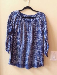 NWT LUCKY BRAND WOMEN'S MULTI-COLOR COTTON BLEND LONG SLEEVE BLOUSE SIZE M #LuckyBrand #Blouse