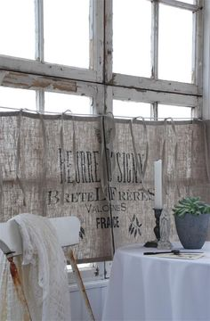 Rustic cafe curtains in linen with the text 'Bretel'. Printed with organic paint ~ Primitive home decorating