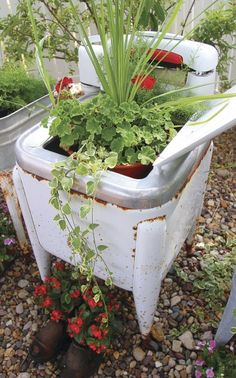 Red geraniums complement the red in this Maytag wringer washing machine - Modern Garden Whimsy, Garden Junk, Garden Planters, Garden Art, Garden Design, Garden Totems, Garden Sheds, Glass Garden, Rustic Planters