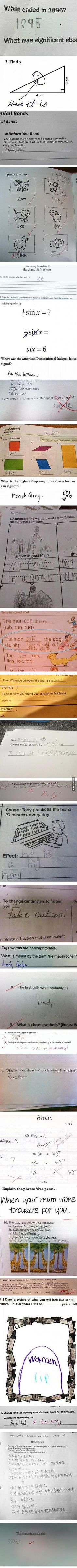 Brilliant test answers from badass kids