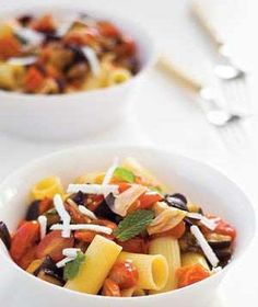 Top a colorful recipe of pasta and chopped vegetables with fresh mint. | A gallery of recipes that are simply delizioso.