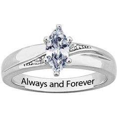 Sterling Silver CZ Diamond Wedding Ring Engraved 'Always and Forever'... ($67) ❤ liked on Polyvore featuring jewelry, rings, white, wedding rings, wedding band ring, solitaire engagement ring, diamond wedding rings and sterling silver wedding rings