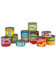 Stock a pretend kitchen with this collection of lidded cardboard play-food cans and you'll have all the ingredients for colorful, imaginative play. Open and close, fill and stack, sort and match-this