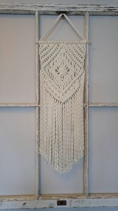 Check out this item in my Etsy shop https://www.etsy.com/ca/listing/491808798/macrame-wall-hanging-shabby-chic-decor