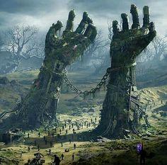 ideas for dark fantasy landscape rpg Dark Fantasy Art, Fantasy Artwork, Fantasy Art Landscapes, Fantasy Concept Art, Fantasy Kunst, Fantasy Landscape, Dark Landscape, Fantasy City, Fantasy Forest