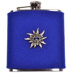 Hip flask EDELWEISS Blau by TrachtenBrummsel