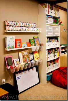 A wonderfully organized learning space from 1plus1plus1equals1.net.    She gives a whole tour of her space and details about specific organization tips and tricks.  Great post and definitely worth checking out!