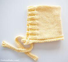 [ knitandbake.com ] Kyla's Hoodie - Easy Baby Bonnet Knitting Pattern ♥    http://www.knitandbake.com/2012/02/27/kylas-hoodie-easy-baby-bonnet-knitting-pattern/