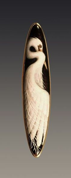 Egret enamel 18k gold brooch by Larissa Podgoretz