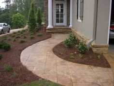 Colorado Springs concrete contractor specializing in stamped concrete, stained concrete and more. A+ rated contractor in Colorado Springs since 2006 Front Door Landscaping, Stone Path, Stamped Concrete, Outdoor Decor, Patio Design, Lawn And Garden, Backyard Decor, Farmhouse Landscaping